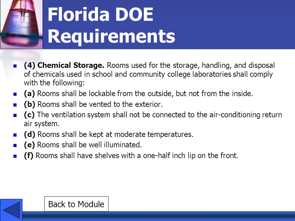 (4) Chemical Storage. Rooms used for the storage, handling, and disposal of chemicals used in school and community college laboratories shall comply w