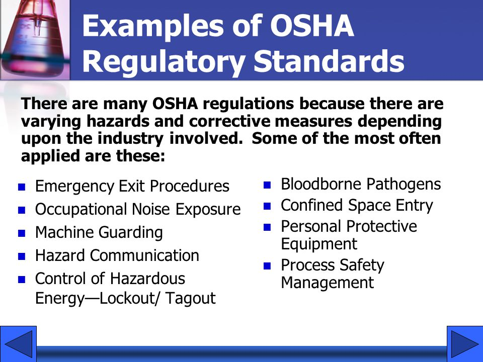 OSHA Health and Safety Goals Improve workplace safety and health.