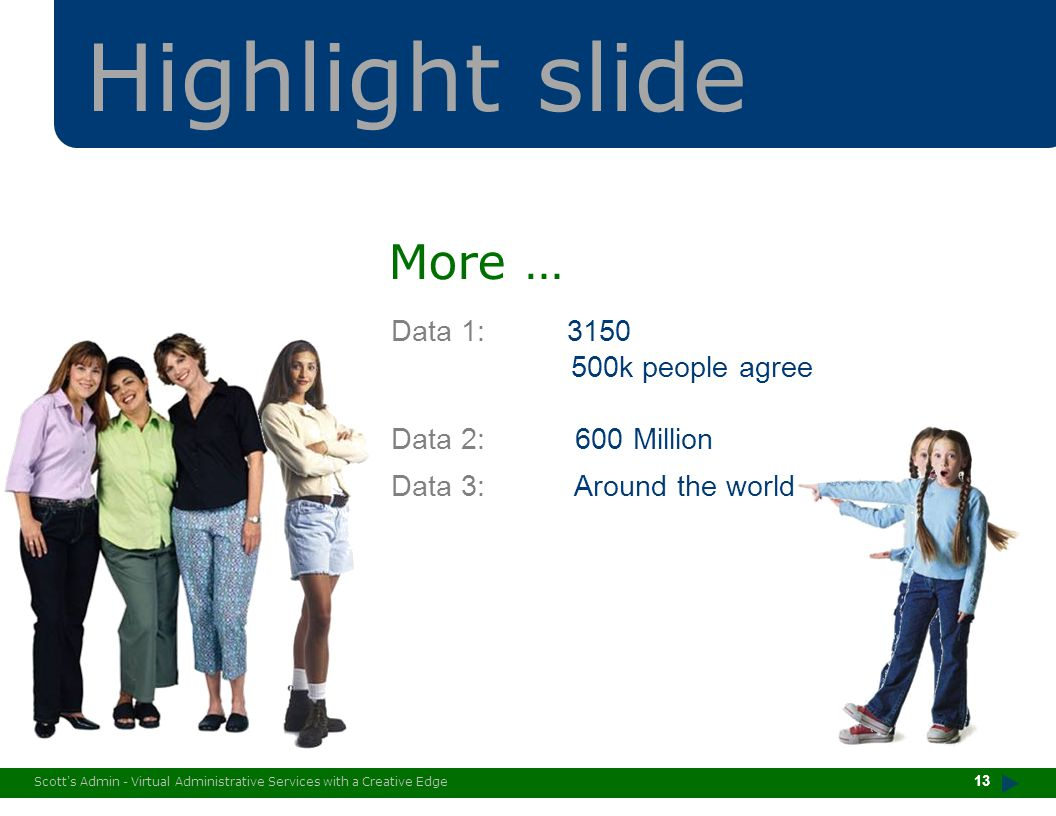 Scott's Admin - Virtual Administrative Services with a Creative Edge Highlight slide Data 1: 3150 500k people agree Data 2: 600 Million Data 3: Around