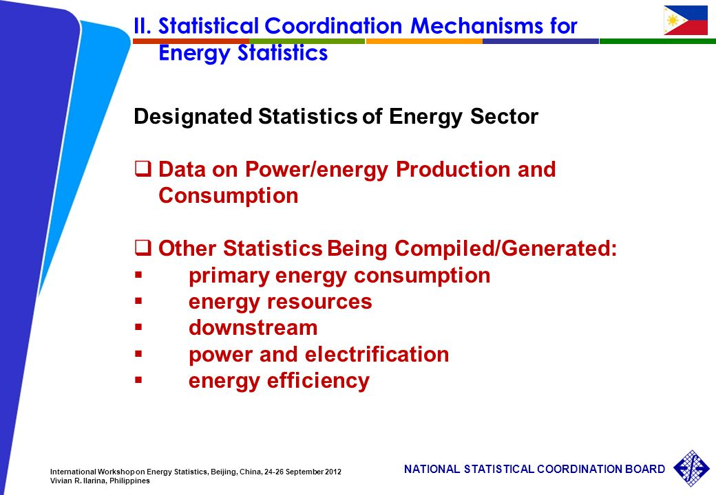 16 NATIONAL STATISTICAL COORDINATION BOARD International Workshop on Energy Statistics, Beijing, China, 24-26 September 2012 Vivian R.