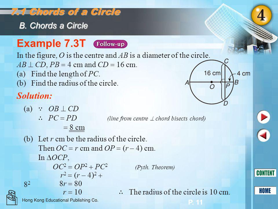 P. 11 Example 7.3T Solution: In the figure, O is the centre and AB is a diameter of the circle. AB  CD, PB  4 cm and CD  16 cm. (a)Find the length