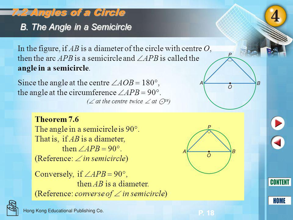 P. 18 B. The Angle in a Semicircle 7.2 Angles of a Circle In the figure, if AB is a diameter of the circle with centre O, then the arc APB is a semici