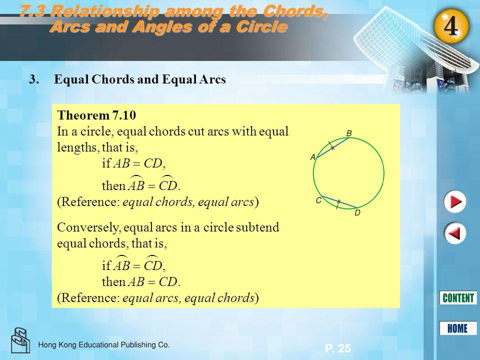 P. 25 7.3 Relationship among the Chords, Arcs and Angles of a Circle 3.Equal Chords and Equal Arcs Theorem 7.10 In a circle, equal chords cut arcs wit