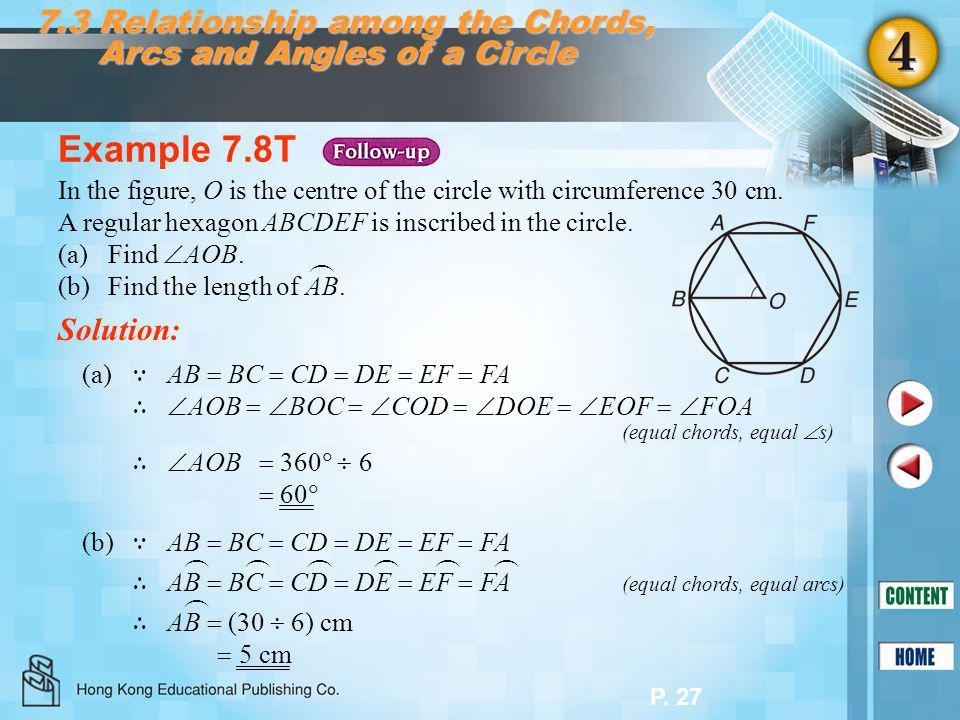 P. 27 Example 7.8T Solution: (a) ∵ AB  BC  CD  DE  EF  FA ∴  AOB   BOC   COD   DOE   EOF   FOA (equal chords, equal  s) (b) ∵ AB  BC
