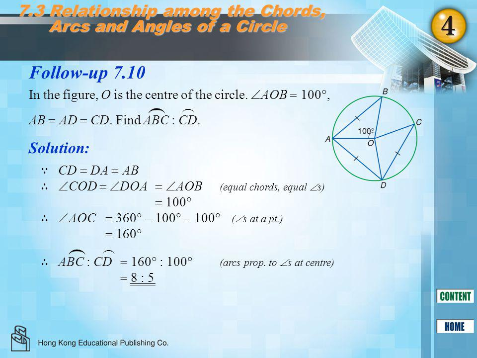 Follow-up 7.10 7.3 Relationship among the Chords, Arcs and Angles of a Circle Solution: ∵ CD  DA  AB ∴  COD   DOA   AOB (equal chords, equal 
