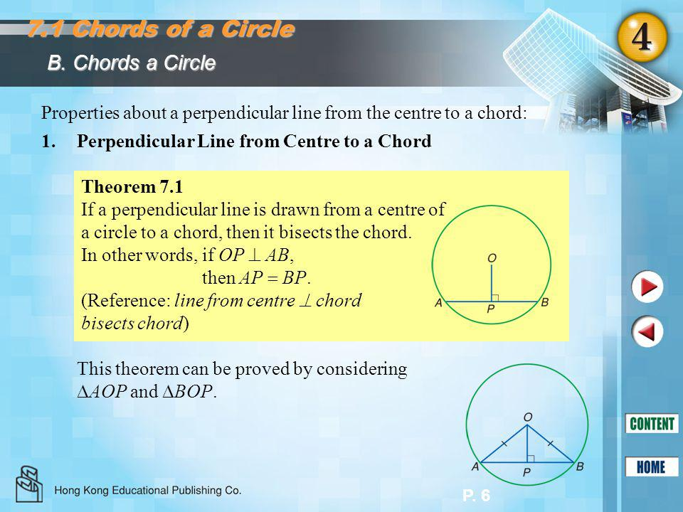 P. 6 B. Chords a Circle 7.1 Chords of a Circle Properties about a perpendicular line from the centre to a chord: 1.Perpendicular Line from Centre to a