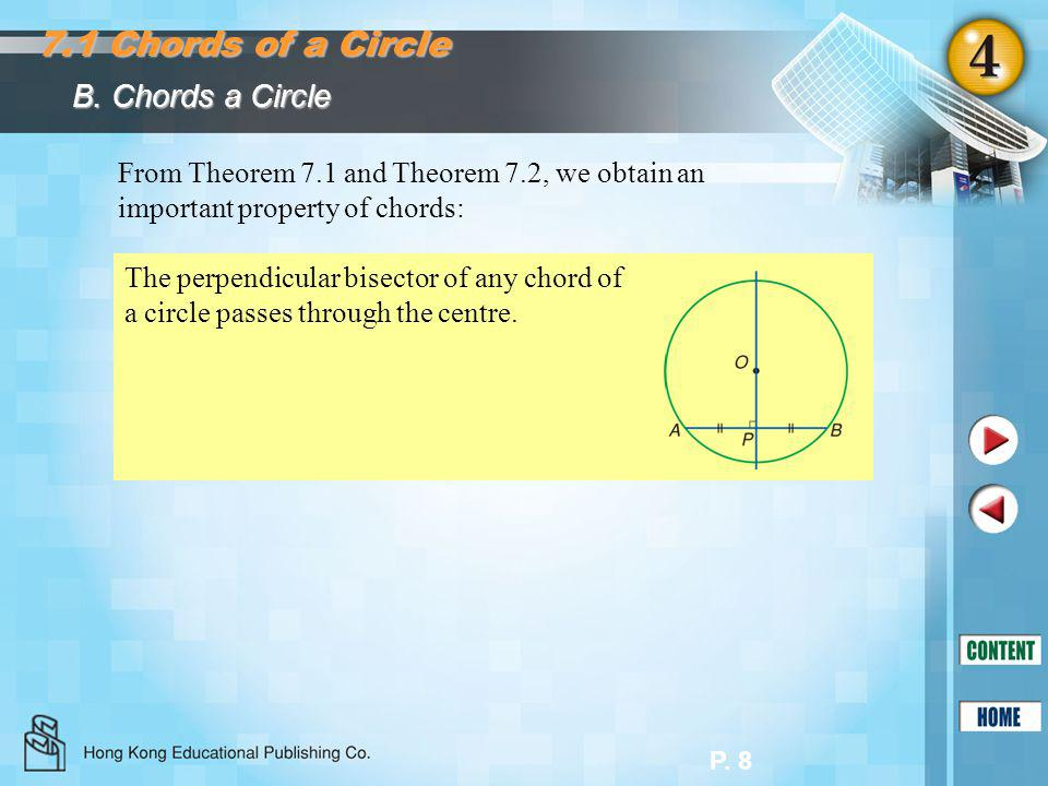 P. 8 B. Chords a Circle 7.1 Chords of a Circle From Theorem 7.1 and Theorem 7.2, we obtain an important property of chords: The perpendicular bisector