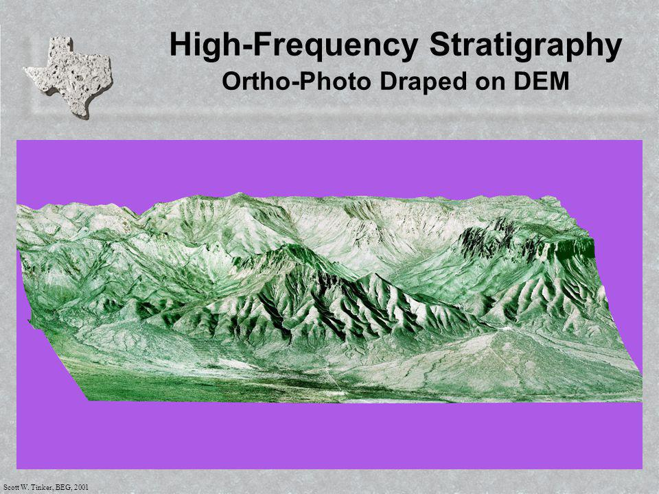 Scott W. Tinker, BEG, 2001 High-Frequency Stratigraphy Ortho-Photo Draped on DEM