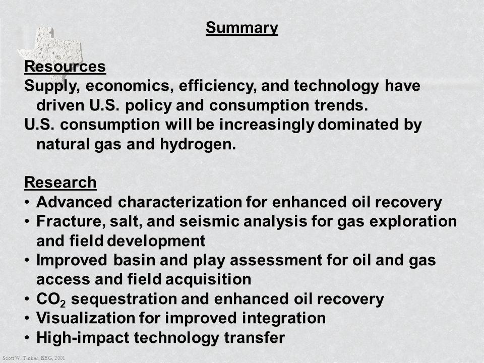 Scott W. Tinker, BEG, 2001 Summary Resources Supply, economics, efficiency, and technology have driven U.S. policy and consumption trends. U.S. consum
