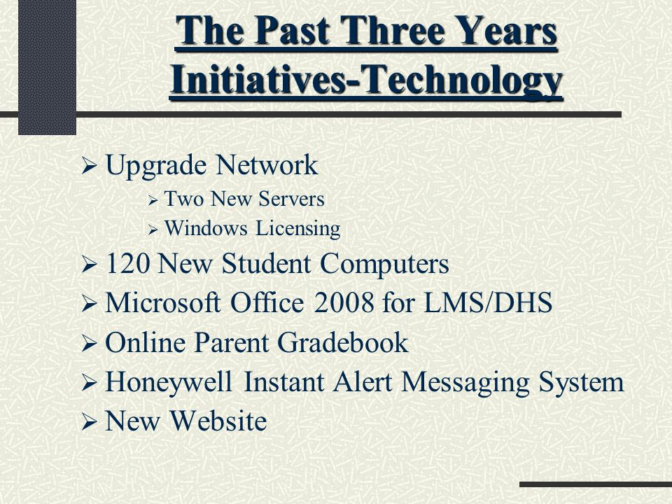 The Past Three Years Initiatives-Technology  Upgrade Network  Two New Servers  Windows Licensing  120 New Student Computers  Microsoft Office 2008 for LMS/DHS  Online Parent Gradebook  Honeywell Instant Alert Messaging System  New Website