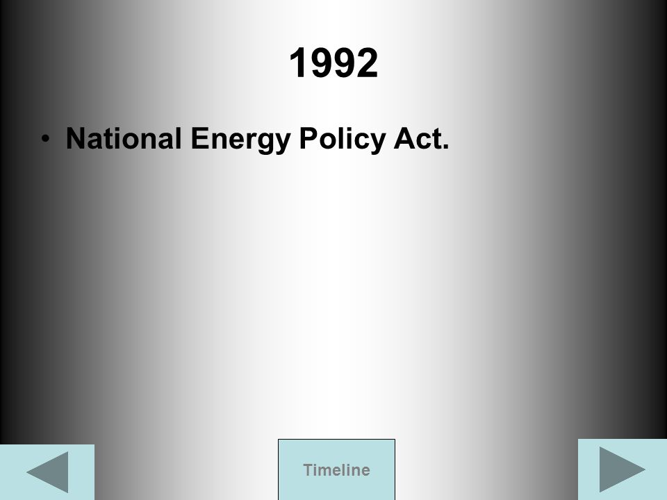 1992 National Energy Policy Act. Timeline