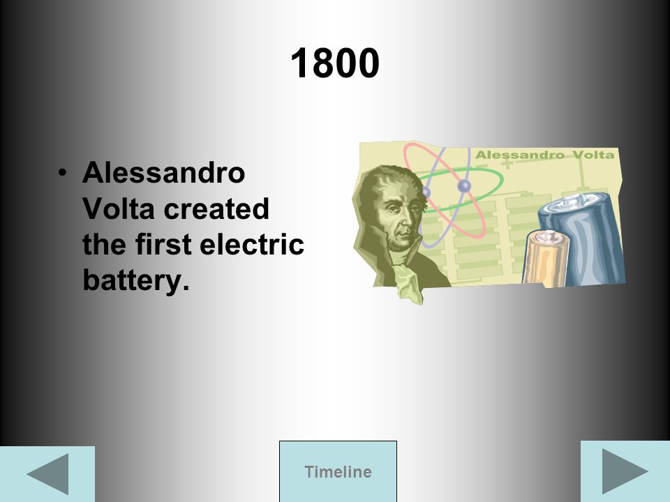 1800 Alessandro Volta created the first electric battery. Timeline