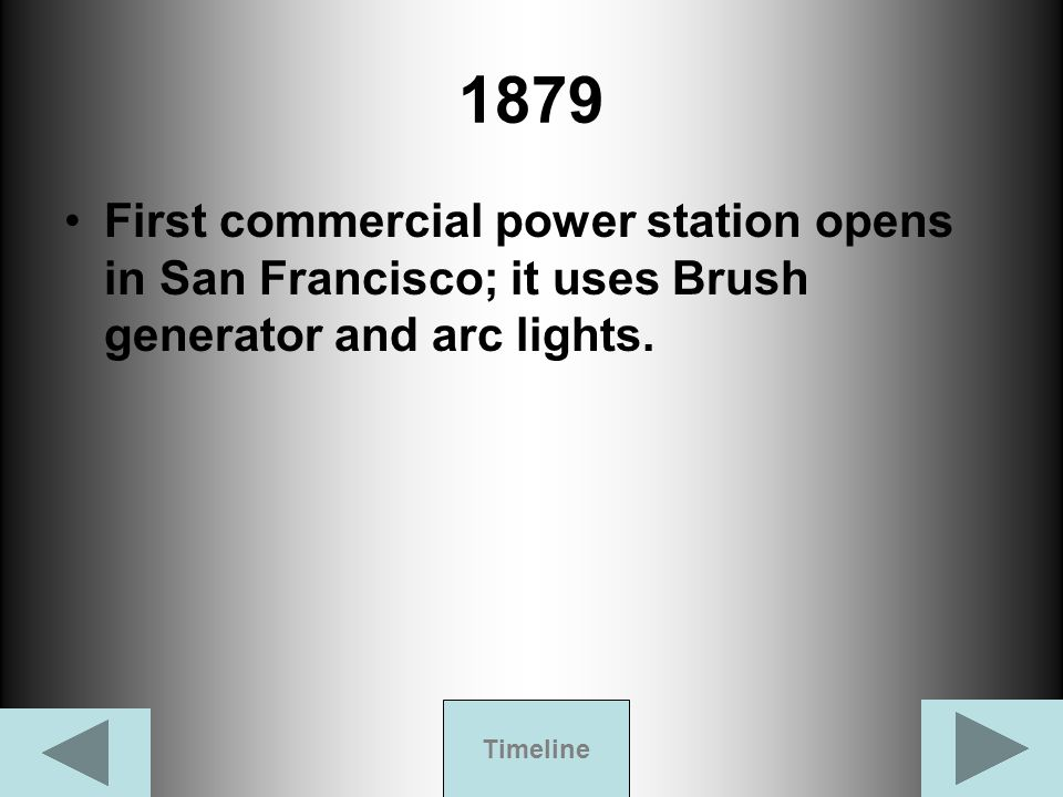 1879 First commercial power station opens in San Francisco; it uses Brush generator and arc lights.
