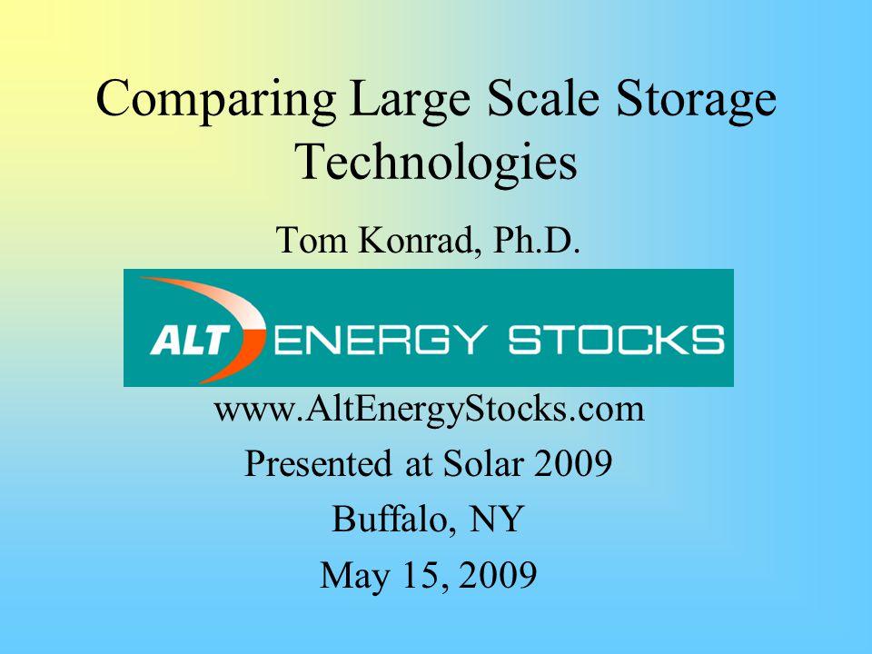 Comparing Large Scale Storage Technologies Tom Konrad, Ph.D.