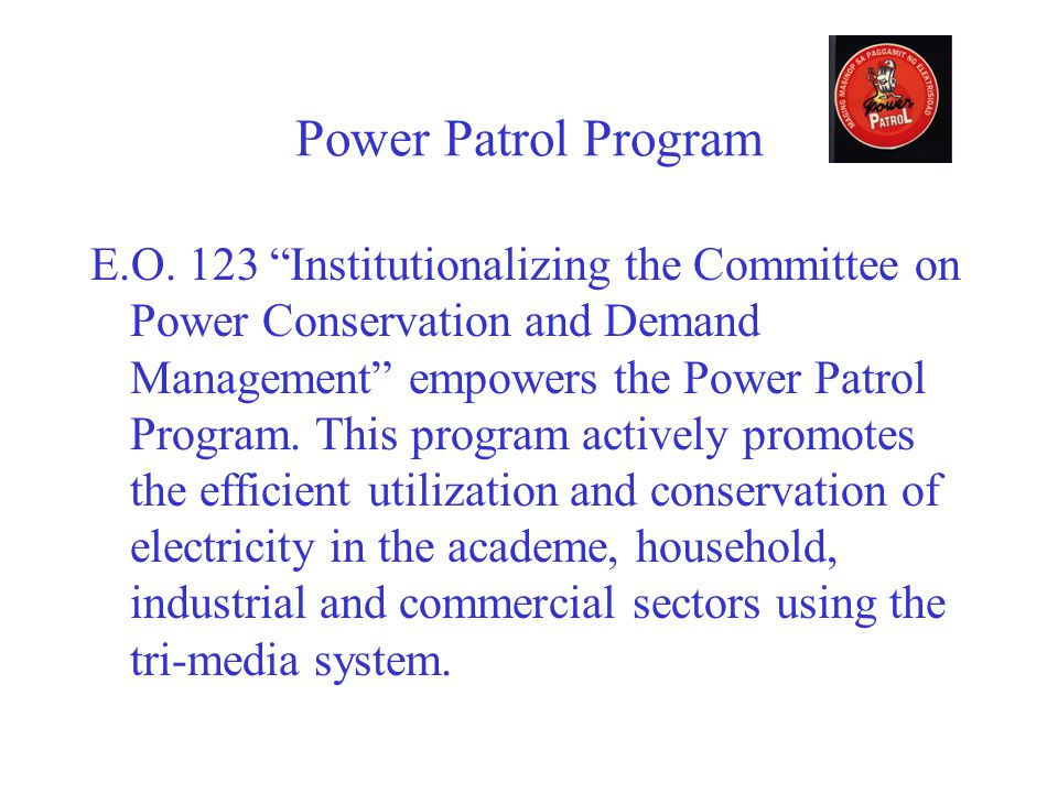 Power Patrol Program E.O.