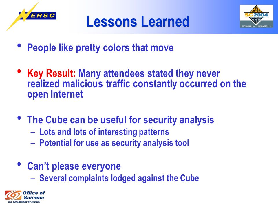 Lessons Learned People like pretty colors that move Key Result: Many attendees stated they never realized malicious traffic constantly occurred on the