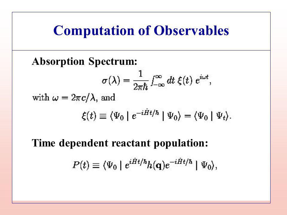 Computation of Observables Time dependent reactant population: Absorption Spectrum: