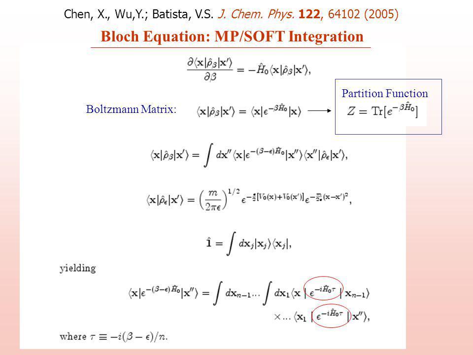 Bloch Equation: MP/SOFT Integration Partition Function Boltzmann Matrix: Chen, X., Wu,Y.; Batista, V.S.