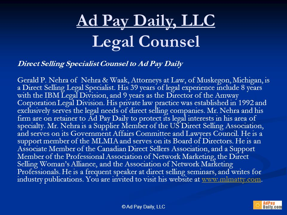© Ad Pay Daily, LLC Is there a minimum 1 st purchase for Advertisers.