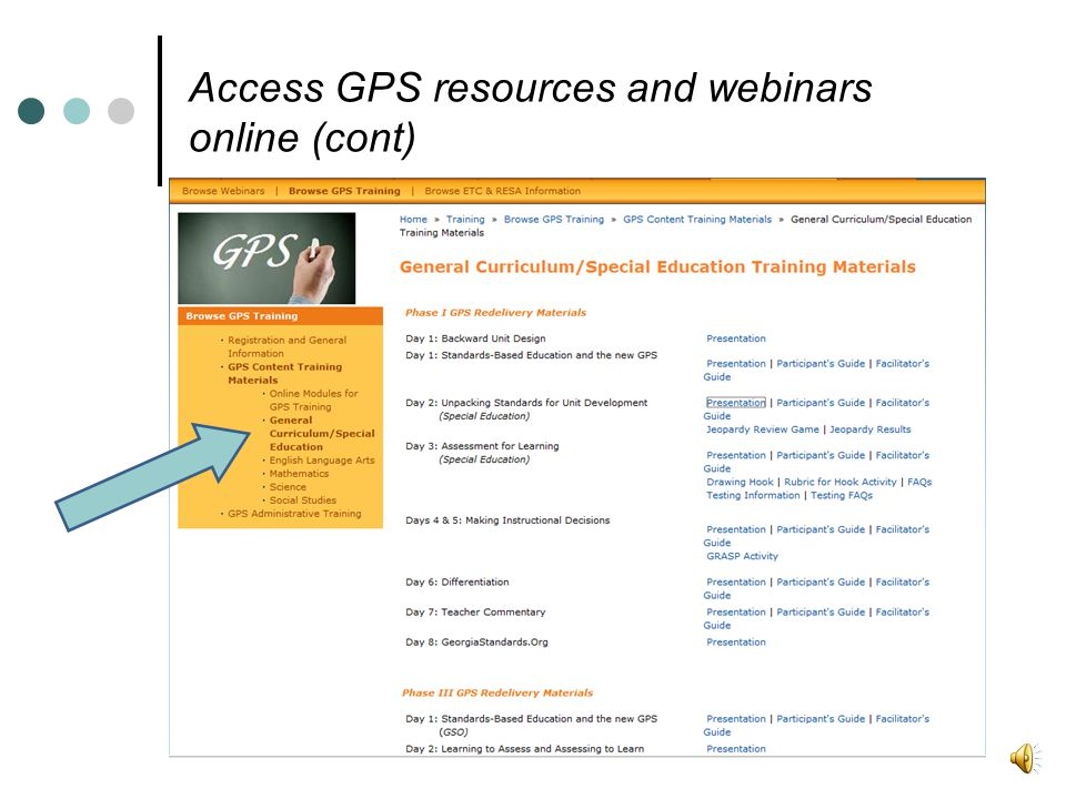 Access GPS resources and webinars online (cont)
