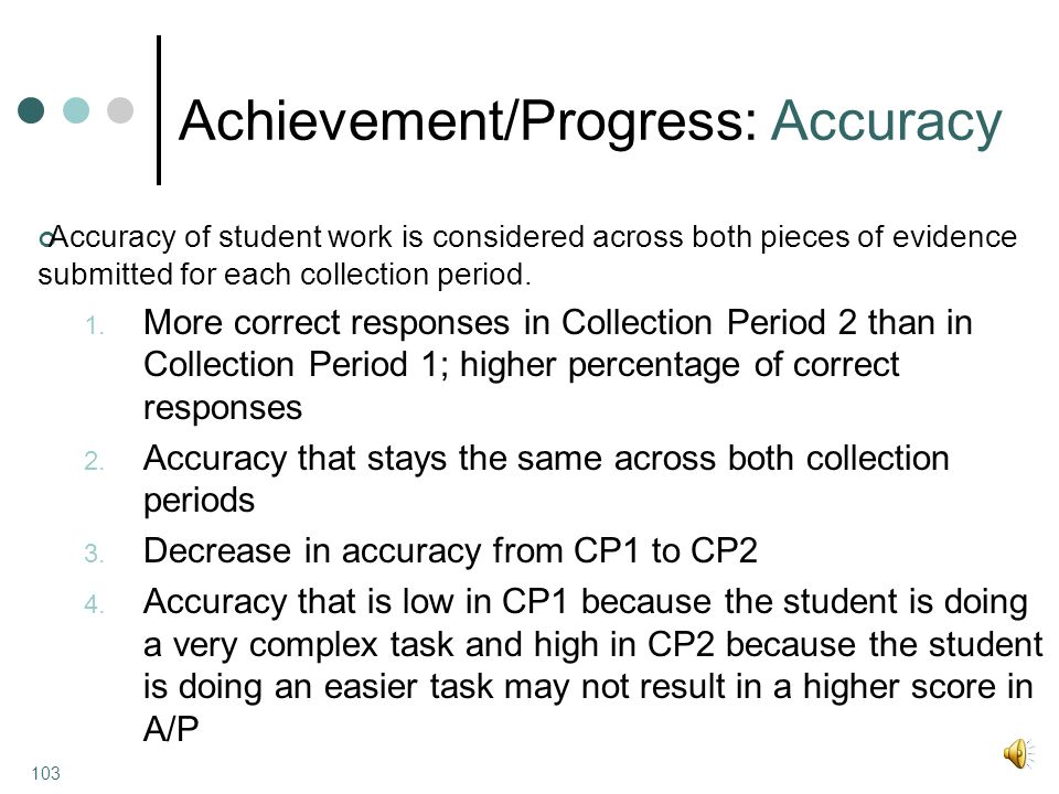 Achievement/Progress: Accuracy Accuracy of student work is considered across both pieces of evidence submitted for each collection period.
