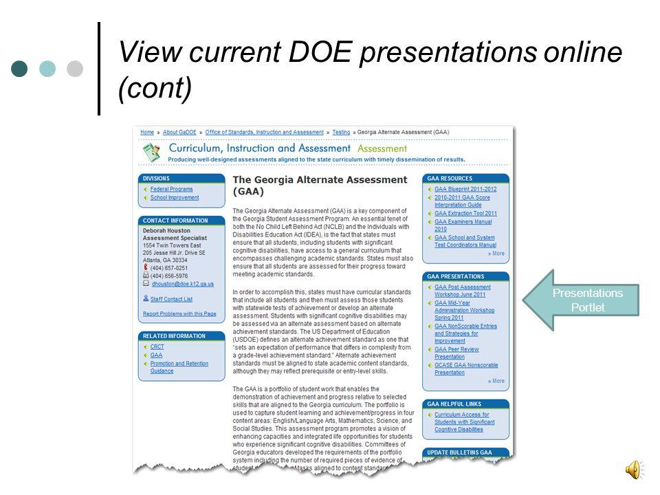 Presentations Portlet View current DOE presentations online (cont)