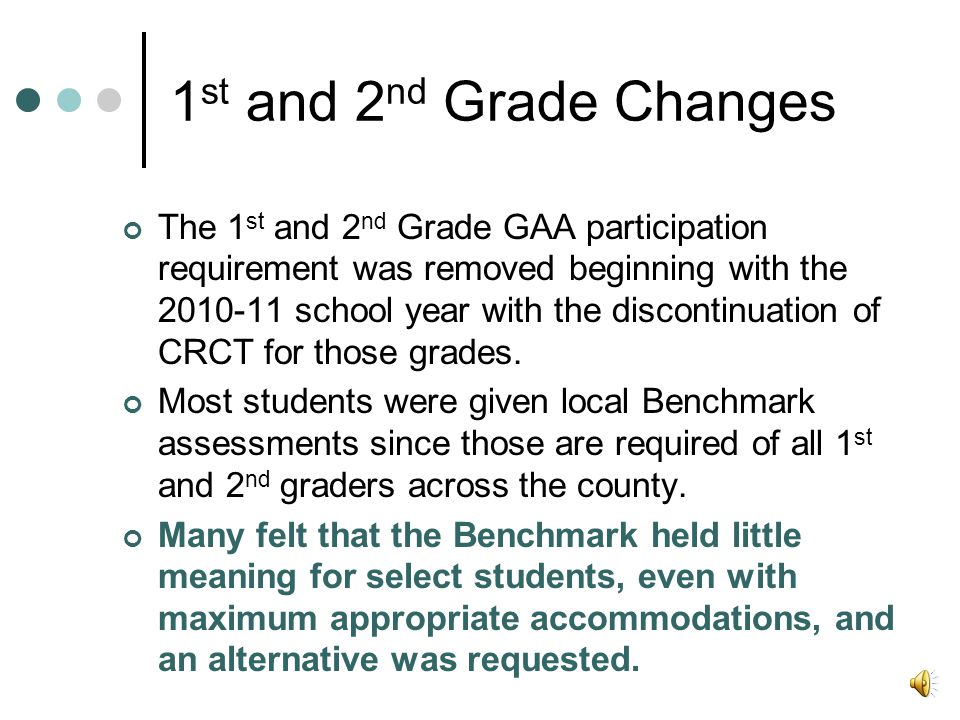 1 st and 2 nd Grade Changes The 1 st and 2 nd Grade GAA participation requirement was removed beginning with the 2010-11 school year with the discontinuation of CRCT for those grades.