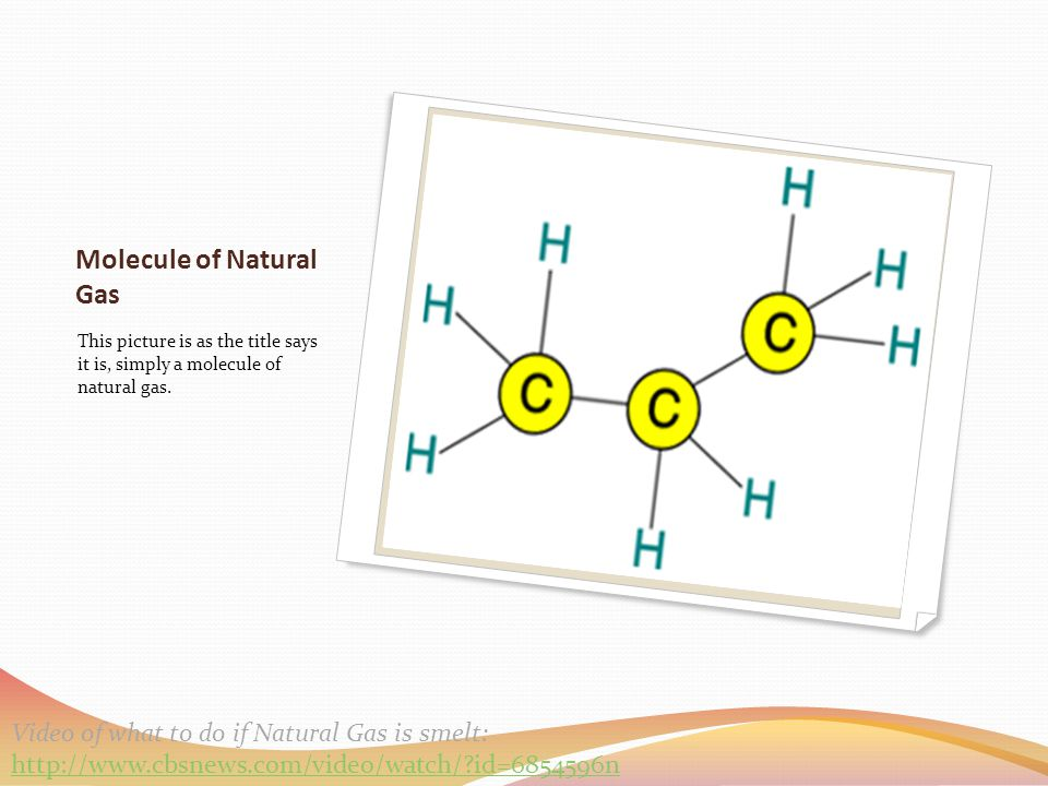 Molecule of Natural Gas This picture is as the title says it is, simply a molecule of natural gas. Video of what to do if Natural Gas is smelt: http:/