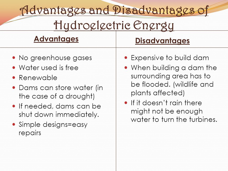 Advantages and Disadvantages of Hydroelectric Energy Advantages Disadvantages No greenhouse gases Water used is free Renewable Dams can store water (i
