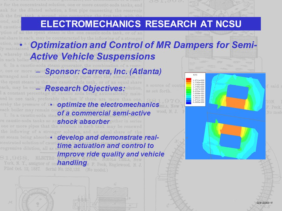 Optimization and Control of MR Dampers for Semi- Active Vehicle Suspensions –Sponsor: Carrera, Inc. (Atlanta) –Research Objectives: optimize the elect
