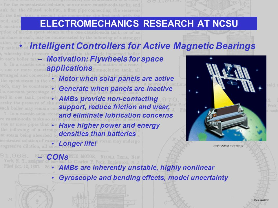 Intelligent Controllers for Active Magnetic Bearings ELECTROMECHANICS RESEARCH AT NCSU –Motivation: Flywheels for space applications Motor when solar
