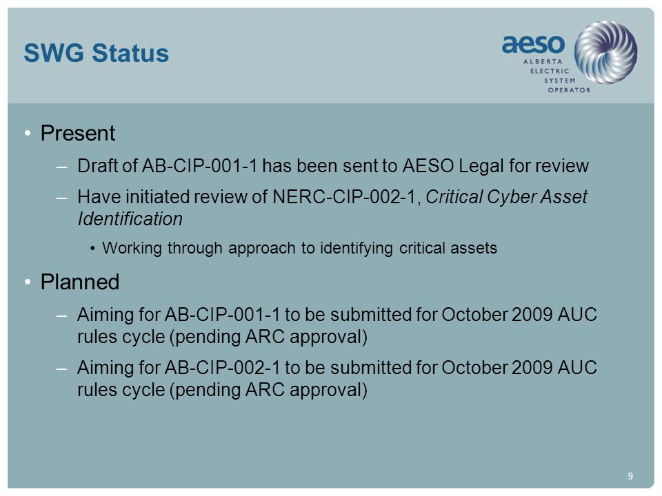 20 NERC Alerts AESO Position –Registration for NERC Alerts is not mandatory for Alberta entities Entities includes owners, operators, and users –Registration for NERC Alerts is suggested for Alberta entities Register under the courtesy copy option Avoid potential violations, conflicts, and confusion associated with reporting requirements under other options AESO has registered under the Courtesy Copy option –Caution is warranted regarding reporting requirements Reporting security matters to authorities outside of Alberta / Canada May conflict with legislation and other agreements AESO is seeking guidance from Alberta DoE; PSCan; CEA; and ASSIST