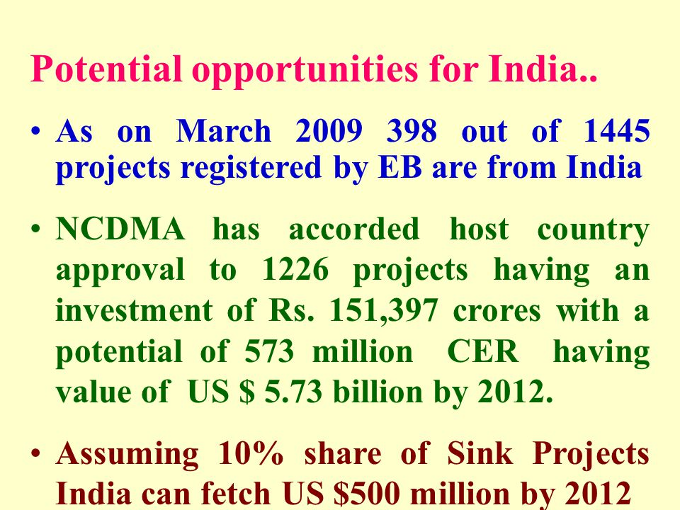 Potential opportunities for India.. As on March 2009 398 out of 1445 projects registered by EB are from India NCDMA has accorded host country approval