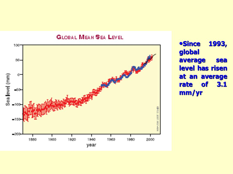 Since 1993, global average sea level has risen at an average rate of 3.1 mm/yr Since 1993, global average sea level has risen at an average rate of 3.1 mm/yr