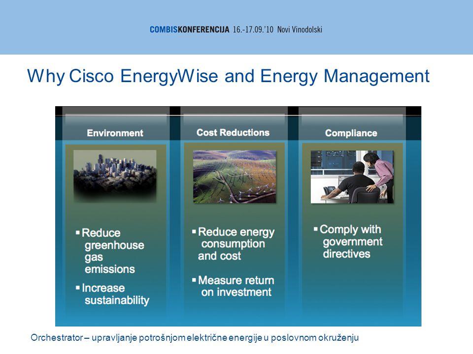 Orchestrator – upravljanje potrošnjom električne energije u poslovnom okruženju Why Cisco EnergyWise and Energy Management