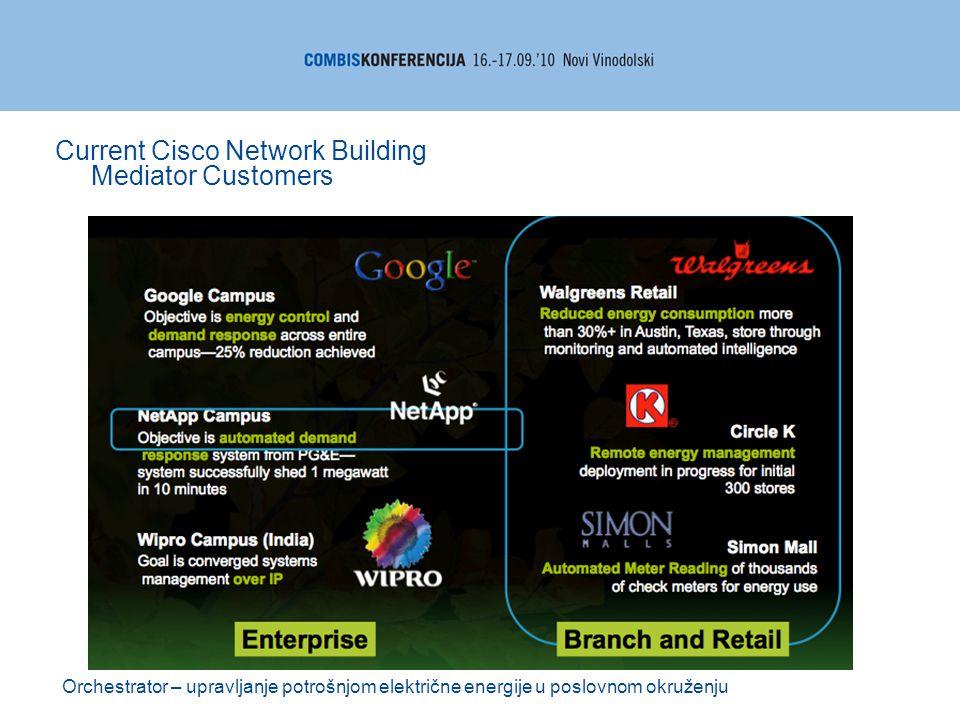 Orchestrator – upravljanje potrošnjom električne energije u poslovnom okruženju Current Cisco Network Building Mediator Customers