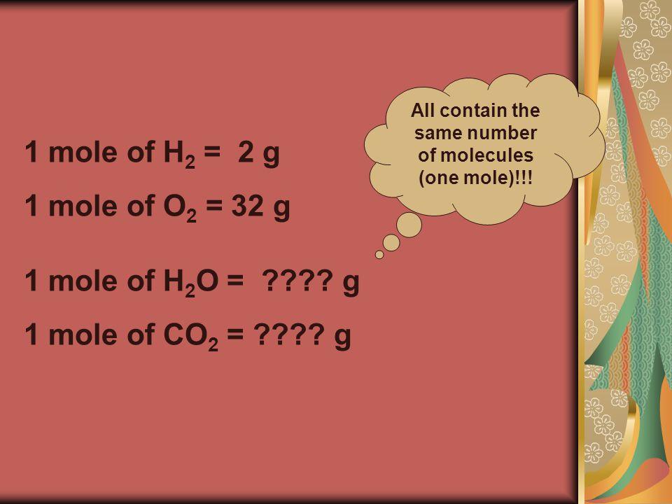 1 mole of H 2 O = . g 1 mole of CO 2 = .
