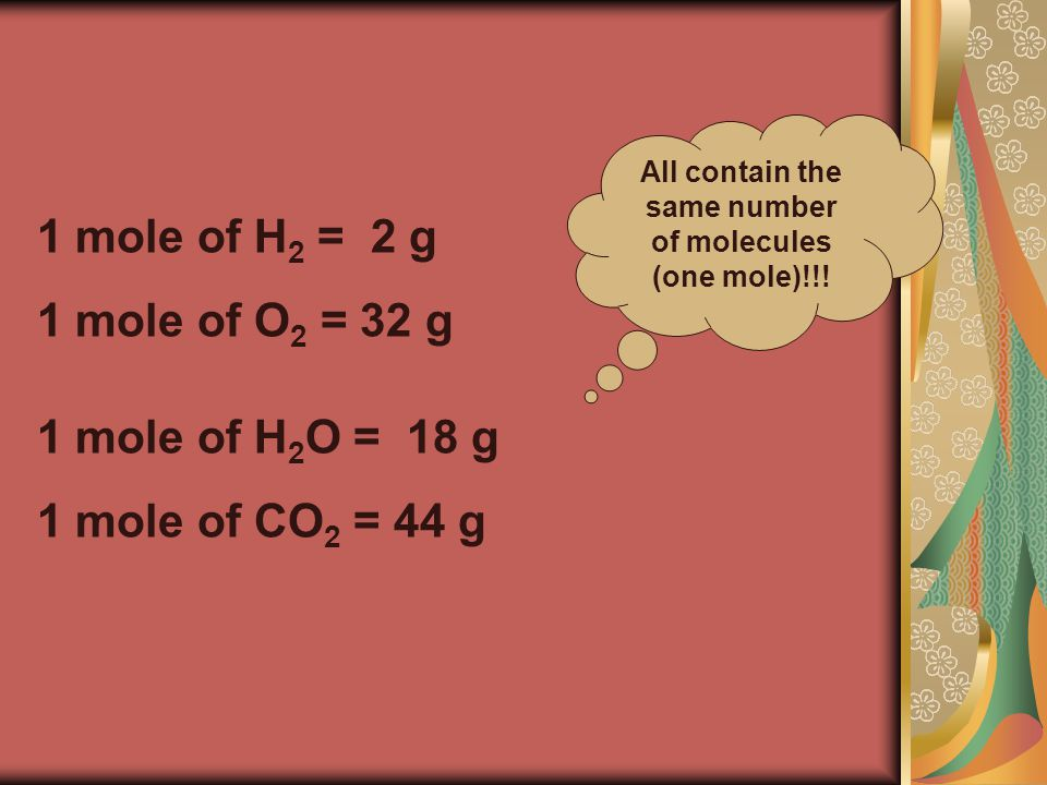 1 mole of H 2 O = 18 g 1 mole of CO 2 = 44 g 1 mole of H 2 = 2 g 1 mole of O 2 = 32 g All contain the same number of molecules (one mole)!!!