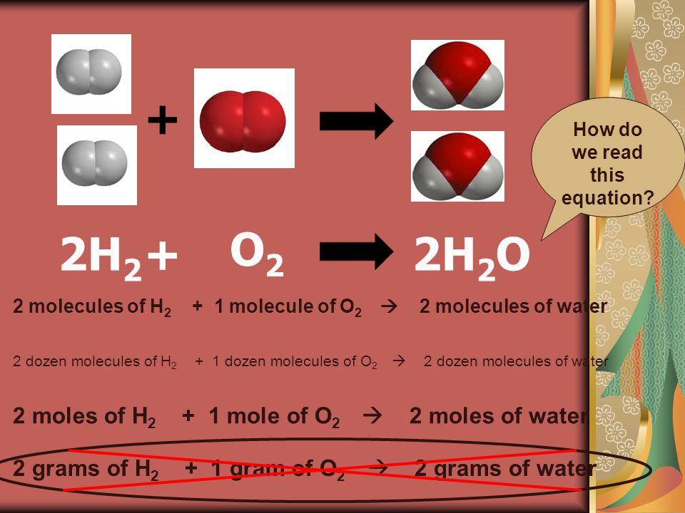 + + O2O2 2H 2 O2H 2 How do we read this equation.