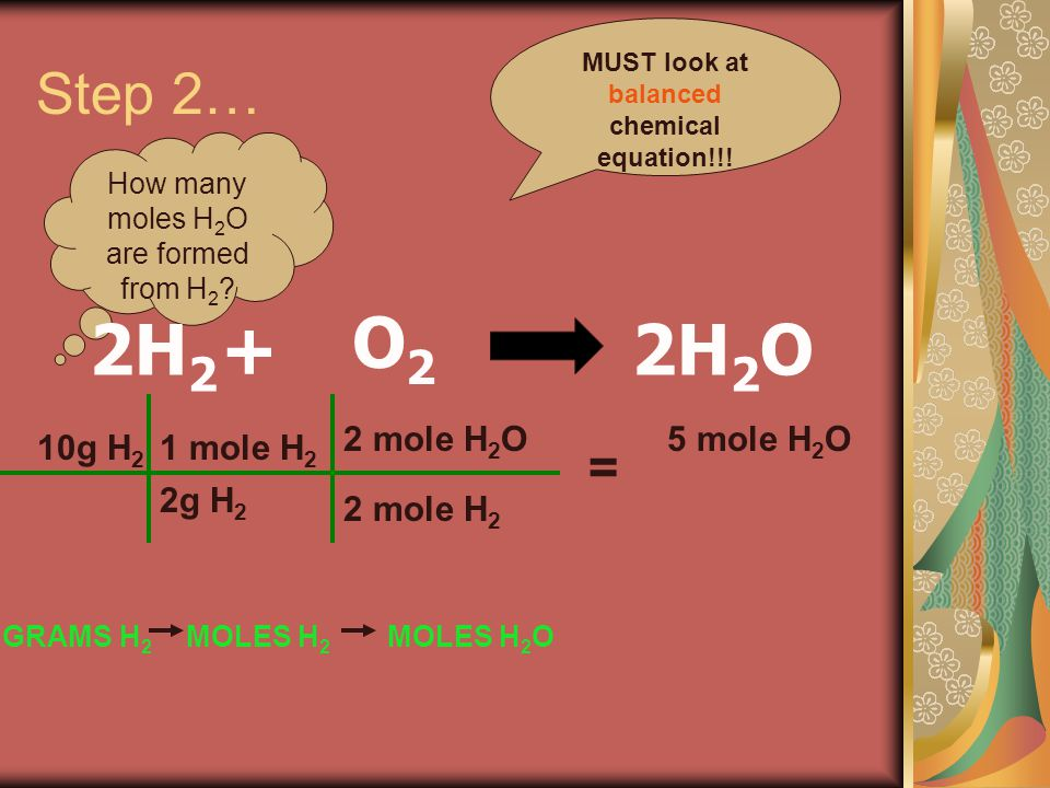 Step 2… How many moles H 2 O are formed from H 2 .