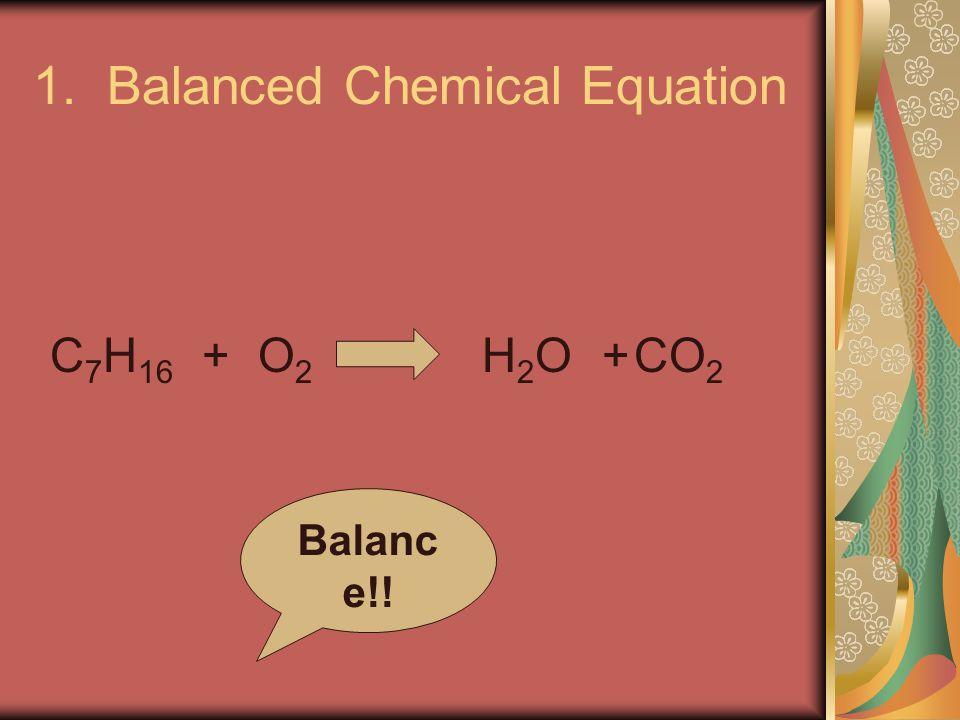 1. Balanced Chemical Equation C 7 H 16 +O2O2 H2OH2O+CO 2 Balanc e!!