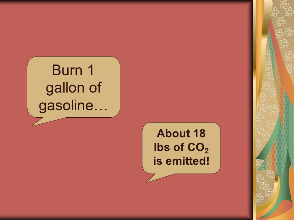 Burn 1 gallon of gasoline… About 18 lbs of CO 2 is emitted!