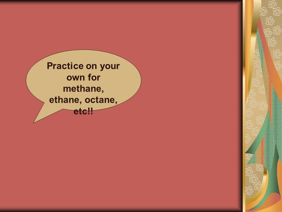 Practice on your own for methane, ethane, octane, etc!!
