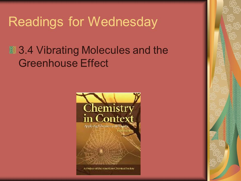 Readings for Wednesday 3.4 Vibrating Molecules and the Greenhouse Effect
