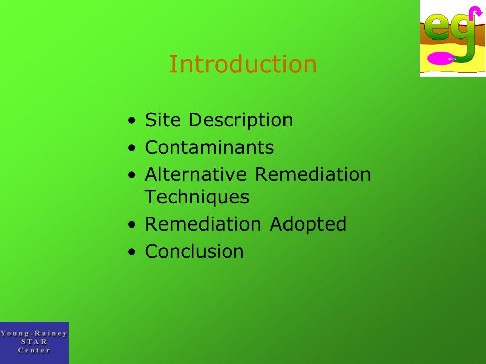 Introduction Site Description Contaminants Alternative Remediation Techniques Remediation Adopted Conclusion