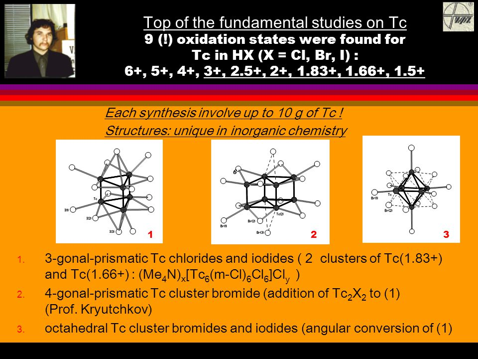 Top of the fundamental studies on Tc 9 (!) oxidation states were found for Tc in HX (X = Cl, Br, I) : 6+, 5+, 4+, 3+, 2.5+, 2+, 1.83+, 1.66+, 1.5+ 1.