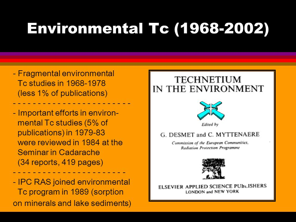 Environmental Tc (1968-2002) - Fragmental environmental Tc studies in 1968-1978 (less 1% of publications) - - - - - - - - - - - - - Important efforts