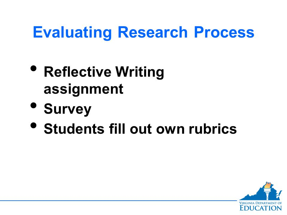 Evaluating Research Process Reflective Writing assignment Survey Students fill out own rubrics