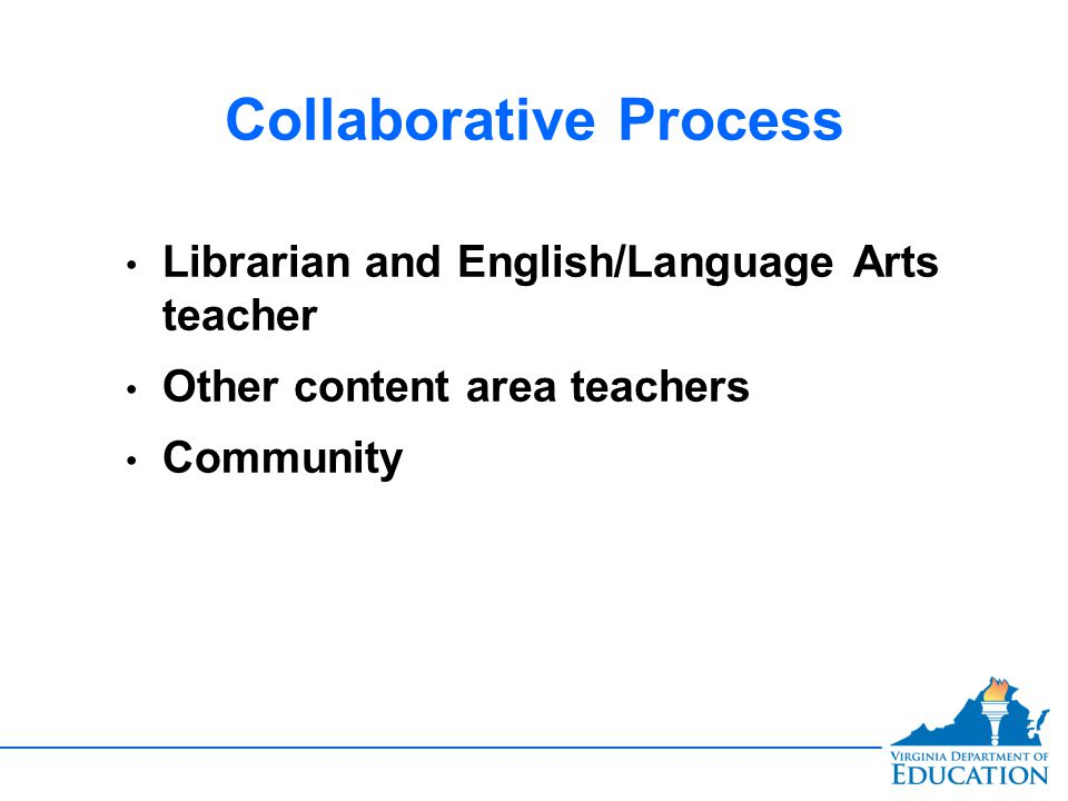 Collaborative Process Librarian and English/Language Arts teacher Other content area teachers Community
