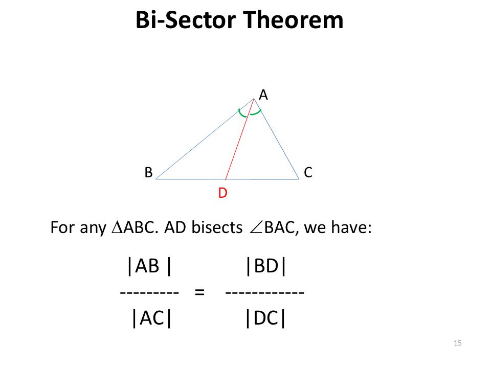 Bi-Sector Theorem 15 |AB | |BD| --------- = ------------ |AC| |DC| For any  ABC. AD bisects  BAC, we have: B A C D